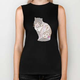 Exotic trendy Mystical cat drawing Biker Tank