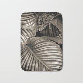 Striped Tropical Calathea Leaves Bath Mat