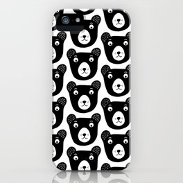 Cute black and white bear illustration iPhone Case