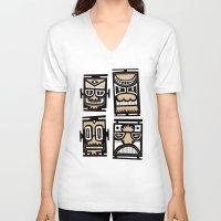 tiki V-neck T-shirts featuring Tiki Tiki by Ceskus