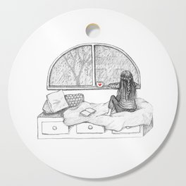 Rainy Day Window pencil illustration Cutting Board