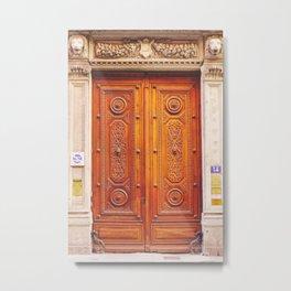 Fancy French door   Hand carved wooden door in France Metal Print
