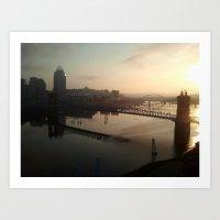 cincinnati Art Prints featuring cincinnati sunrise by Monica Ortel ❖