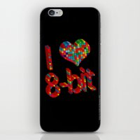 8 bit iPhone & iPod Skins featuring i heart 8-bit by frederic levy-hadida