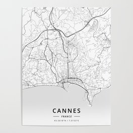 Cannes, France - Light Map Poster