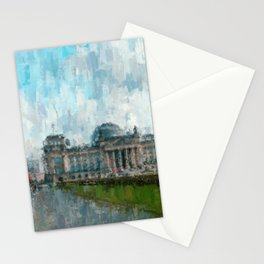 Reichstag, Berlin - abstract landmark drawing / painting /  impressionism style Illustration  / Stationery Cards
