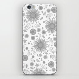 Beautiful Flowers in Faded Gray Black and White Vintage Floral Design iPhone Skin