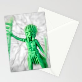 Native american indian green plastic toy battle confrontation Stationery Cards