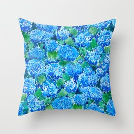 abstract blue hydrangea wall Throw Pillow
