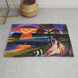 Sunset over the Blue Bridge landscape painting by Hermann Max Pechstein Rug