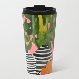 Pink Wall Monstera Travel Mug