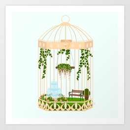bird cage garden Art Print