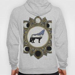 Double Exposure Wolf Howling at the Moon Mandala Hoody