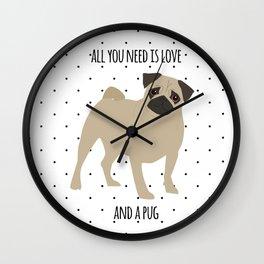 Love And Pugs Wall Clock