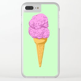 Strawberry Double Scoop Ice Cream Cone Clear iPhone Case
