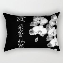 Japanese Orchids in Black Rectangular Pillow