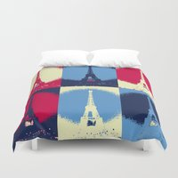 eiffel Duvet Covers featuring Eiffel Tower by Aloke Design