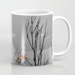 Red Cardinal Birds Black and White Beach Coastal A195 Coffee Mug