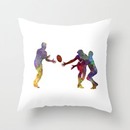 Rugby men players 02 in watercolor Throw Pillow