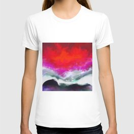 Abstract in Red, White and Purple T-shirt