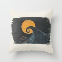 nightmare before christmas Throw Pillows featuring Nightmare Before Christmas Watercolor by Patty Marq