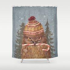 Christmas Owl  Shower Curtain