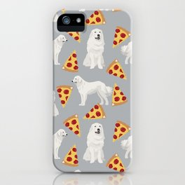 Great Pyrenees pizza dog portrait custom dog breed art print dog person gifts for christmas iPhone Case