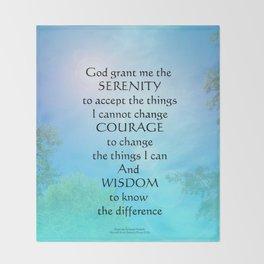 Serenity Prayer September Sky Throw Blanket