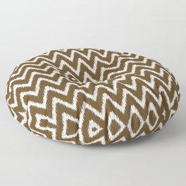Pecan Southern Cottage Ikat Chevrons Floor Pillow