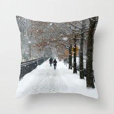 New York in Winter Throw Pillow