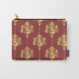 Gold damask flowers and pearls on red background Carry-All Pouch