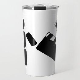 Pictogram holding a movie clapperboard Travel Mug