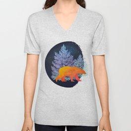 Midnight Moon Bear - Technicolour Safari, Polar bear Unisex V-Neck