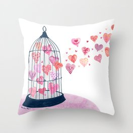 Caged Love Watercolor Throw Pillow