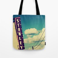 stanley kubrick Tote Bags featuring Stanley by Trish Mistric