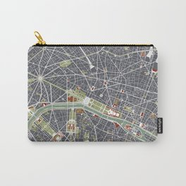 Paris city map engraving Carry-All Pouch