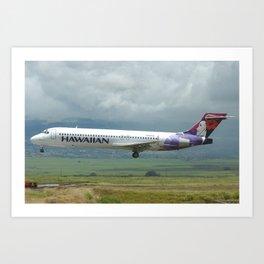 Hawaiian Airlines 717 landing in Maui Art Print