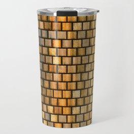 Wooden Distressed Block Tile Pattern Travel Mug