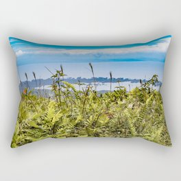 Looking Through Tall Grass and Wildflowers at the Lake on top of Mombacho Volcano, Nicaragua Rectangular Pillow