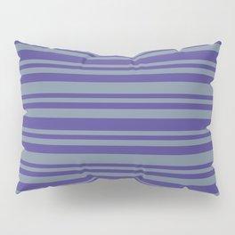 Dark Slate Blue & Light Slate Gray Colored Lines Pattern Pillow Sham