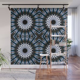 Blue Brown Etched Pinwheel Flowers Wall Mural