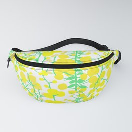 Australian Golden Wattle Flowers in White Fanny Pack