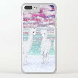 alpacas in the snow Clear iPhone Case