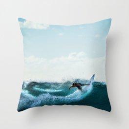 Wave Series Photograph No. 4 - Big Swells at Mavericks Beach Throw Pillow