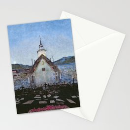 All Night Forever, Town and Cemetery by moonlight landscape by Harald Sohlberg Stationery Cards