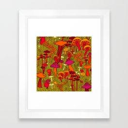 Mushrooms in the Forest Framed Art Print