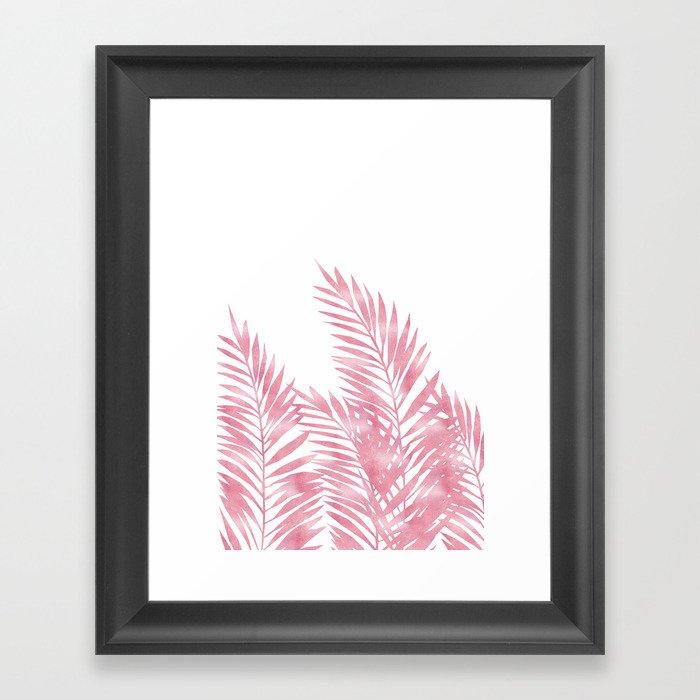 Palm Leaves Pink Gerahmter Kunstdruck