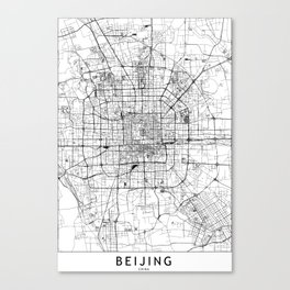 Beijing White Map Canvas Print