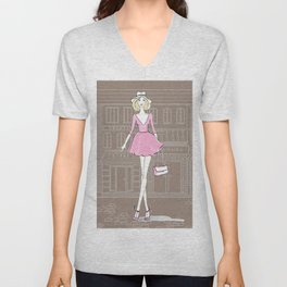 Girl in the City Unisex V-Neck
