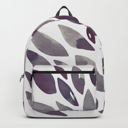 Watercolor floral petals - purple and grey Backpack